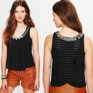 FREE PEOPLE Aztec Louie Split Back Beaded Tank XS
